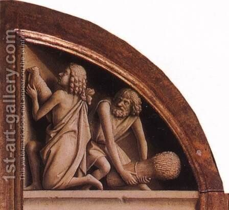 The Ghent Altarpiece- The Offering of Abel and Cain 1425-29 by Jan Van Eyck - Reproduction Oil Painting