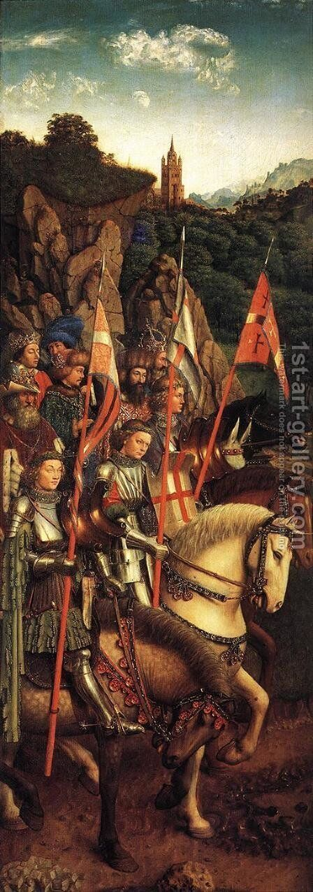 The Ghent Altarpiece- The Soldiers of Christ 1427-30 by Jan Van Eyck - Reproduction Oil Painting
