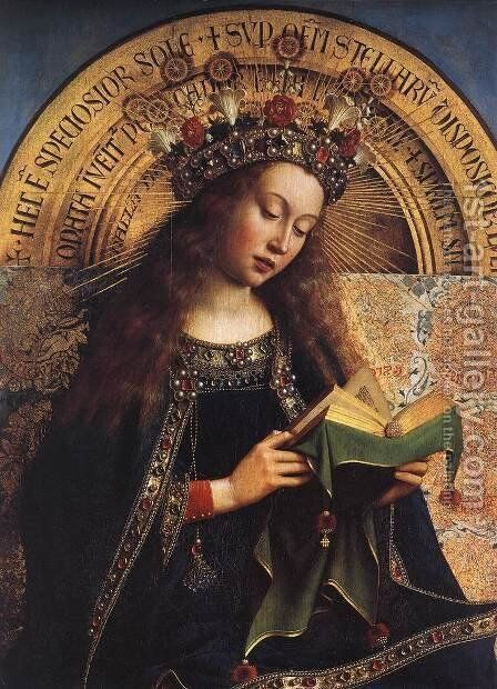 The Ghent Altarpiece- Virgin Mary (detail) 1426-29 by Jan Van Eyck - Reproduction Oil Painting