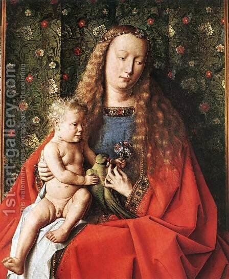 The Madonna with Canon van der Paele (detail 2) 1436 by Jan Van Eyck - Reproduction Oil Painting