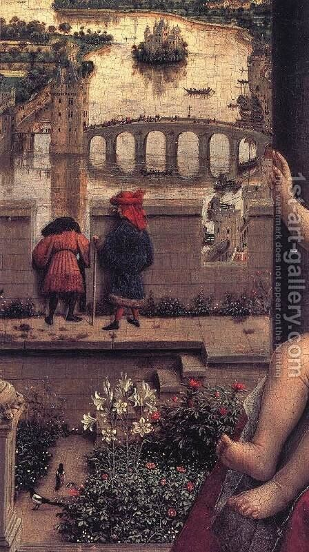 The Virgin of Chancellor Rolin (detail 1) 1435 by Jan Van Eyck - Reproduction Oil Painting