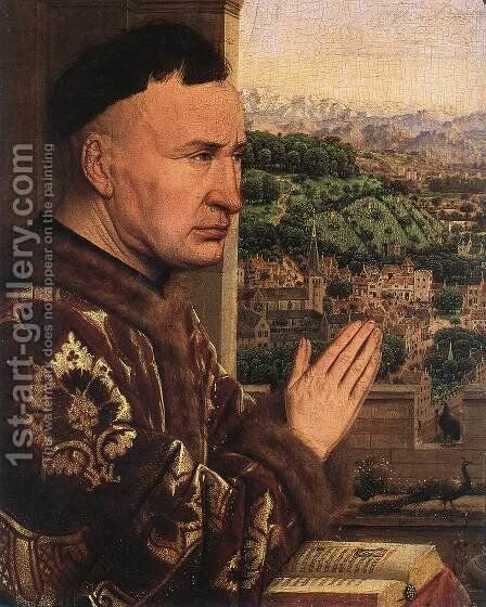 The Virgin of Chancellor Rolin (detail 3) 1435 by Jan Van Eyck - Reproduction Oil Painting