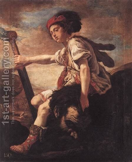 David with the Head of Goliath c. 1620 by Domenico Fetti - Reproduction Oil Painting