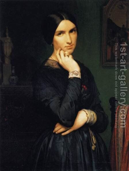 Portrait of Madame Flandrin 1846 by Jean Hippolyte Flandrin - Reproduction Oil Painting
