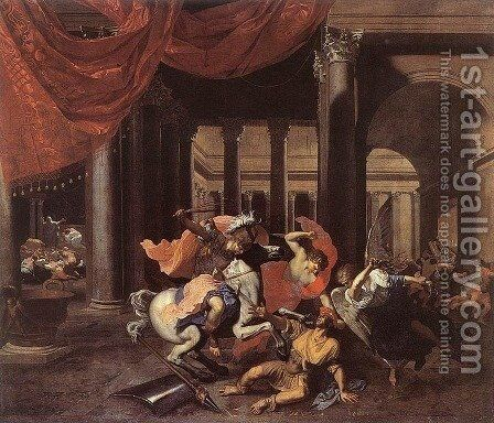 Heliodorus Driven from the Temple 1658-62 by Bertholet Flemal - Reproduction Oil Painting
