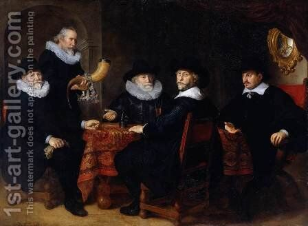 Four Governors of the Arquebusiers Civic Guard, Amsterdam 1642 by Govert Teunisz. Flinck - Reproduction Oil Painting