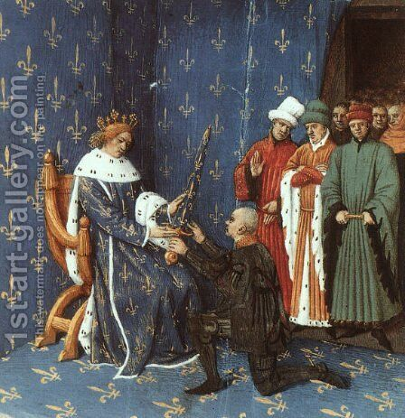 Bertrand with the Sword of the Constable of France by Jean Fouquet - Reproduction Oil Painting
