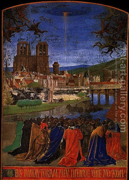 Descent of the Holy Ghost upon the Faithful 1452 by Jean Fouquet - Reproduction Oil Painting