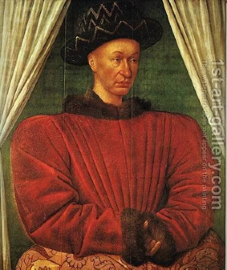 Portrait of Charles VII of France c. 1445 by Jean Fouquet - Reproduction Oil Painting