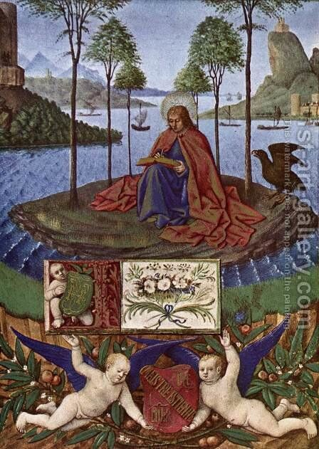 St John at Patmos 1452-60 by Jean Fouquet - Reproduction Oil Painting