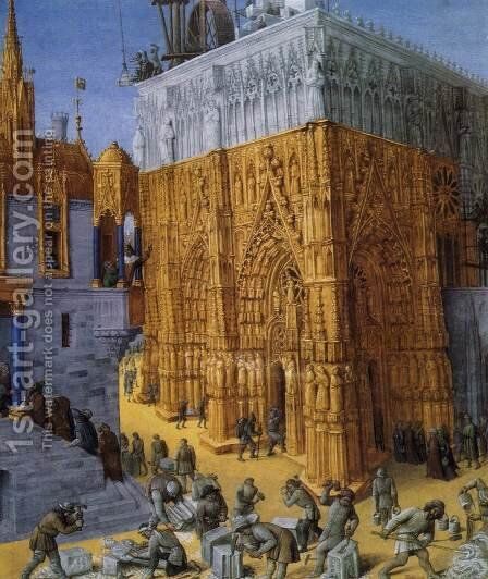 The Building of a Cathedral c. 1465 by Jean Fouquet - Reproduction Oil Painting