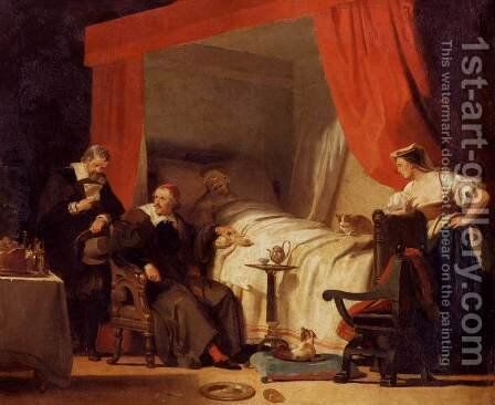 Cardinal Mazarin at the Deathbed of Eustache Le Sueur by Alexandre Evariste Fragonard - Reproduction Oil Painting