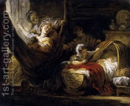 The Cradle 1761-65 by Jean-Honore Fragonard - Reproduction Oil Painting