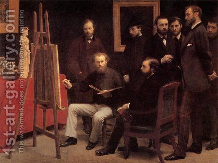 An Atelier in the Batignolles 1870 by Ignace Henri Jean Fantin-Latour - Reproduction Oil Painting
