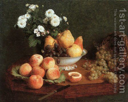 Flowers & Fruit on a Table 1865 by Ignace Henri Jean Fantin-Latour - Reproduction Oil Painting