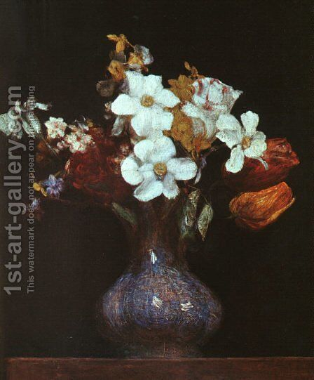 Narcissus and Tulips 1862 by Ignace Henri Jean Fantin-Latour - Reproduction Oil Painting
