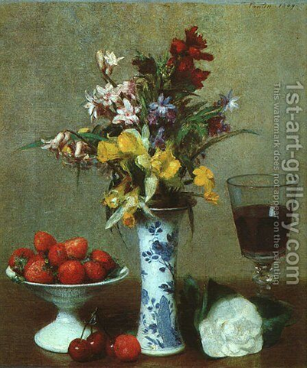 Still Life- The Engagement 1869 by Ignace Henri Jean Fantin-Latour - Reproduction Oil Painting
