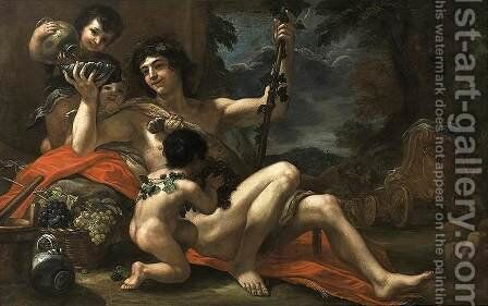 Bacchus with Attendant Putti c. 1670 by Baldassarre Franceschini - Reproduction Oil Painting