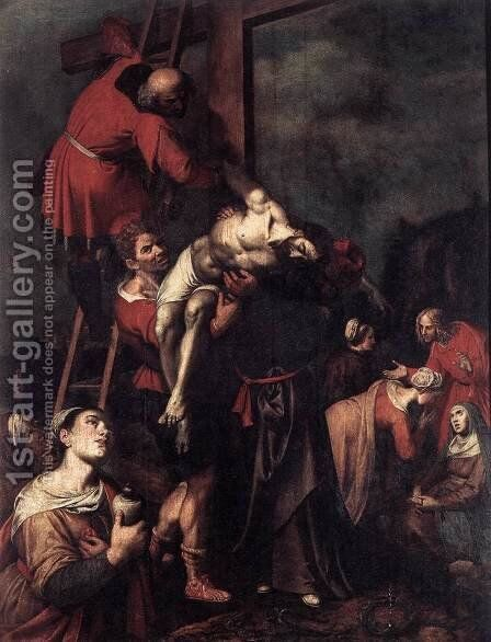 Descent from the Cross 1580s by Ambrosius Francken - Reproduction Oil Painting
