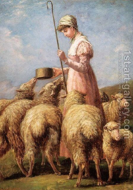 Shepherdess 1889 by Anna Chamberlain Freeland - Reproduction Oil Painting