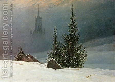 Winter Landscape with Church (2) 1811 by Caspar David Friedrich - Reproduction Oil Painting