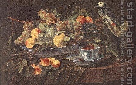 Still-life with Fruits and Parrot c. 1640 by Jan Fyt - Reproduction Oil Painting