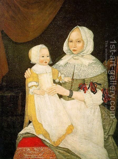 Mrs. Elizabeth Freake and Baby Mary 1671-74 by The Freake Limner - Reproduction Oil Painting