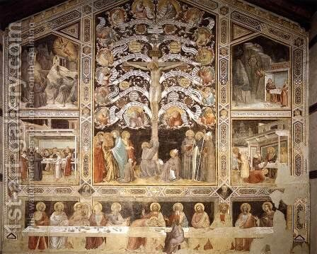 Last Supper, Tree of Life and Four Miracle Scenes 1360s by Agnolo Gaddi - Reproduction Oil Painting