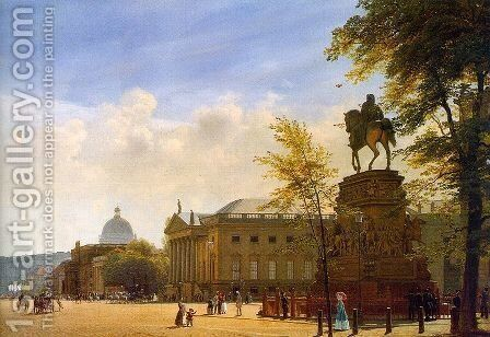 Unter den Linden, Berlin  (detail) 1853 by Eduard Gaertner - Reproduction Oil Painting