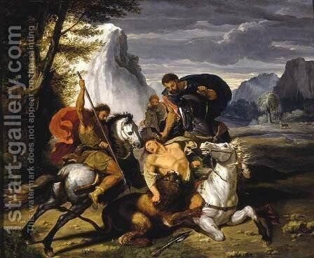 Lion Hunt by Benigne Gagneraux - Reproduction Oil Painting