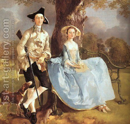 Mr and Mrs Andrews (detail) 1750 by Thomas Gainsborough - Reproduction Oil Painting