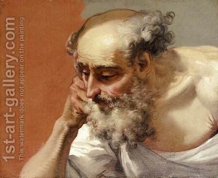 Head Study of an Elderly Bearded Man by Mauro Gandolfi - Reproduction Oil Painting