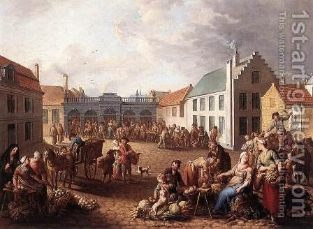 The Pandreitje in Bruges 1778 by Jan Antoon Garemijn - Reproduction Oil Painting