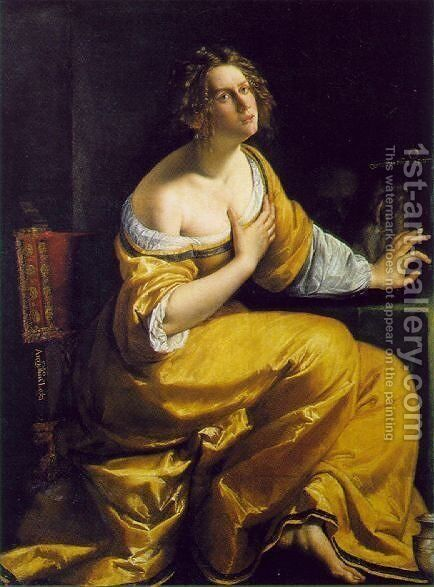 Mary Magdalen 1613-20 by Artemisia Gentileschi - Reproduction Oil Painting