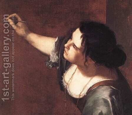 Self-Portrait as the Allegory of Painting (detail) 1630s by Artemisia Gentileschi - Reproduction Oil Painting