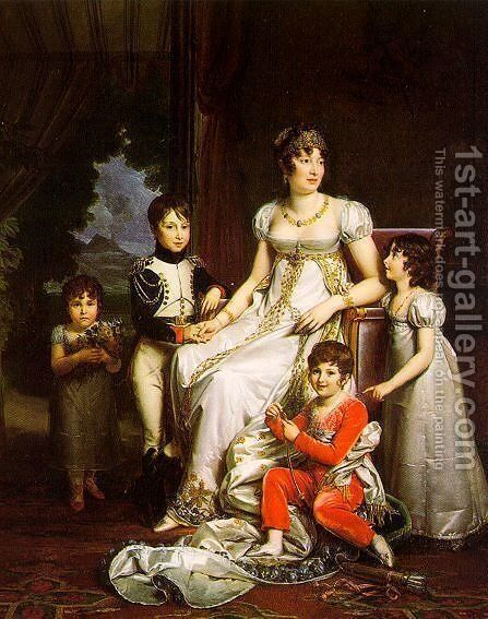 Caroline Murat and her Children 1808 by Baron Francois Gerard - Reproduction Oil Painting