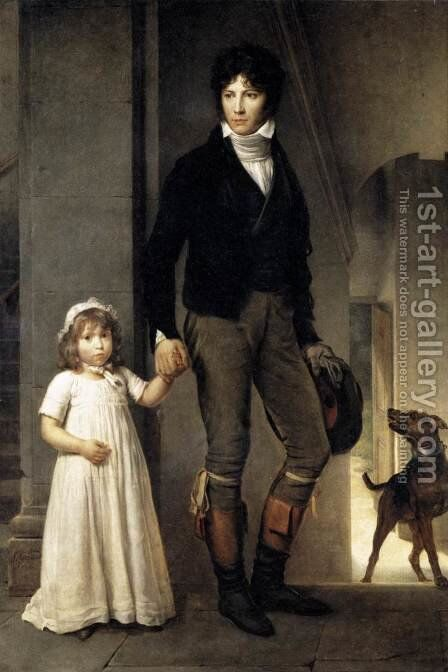 Jean-Baptist Isabey, Miniaturist, with his Daughter 1795 by Baron Francois Gerard - Reproduction Oil Painting