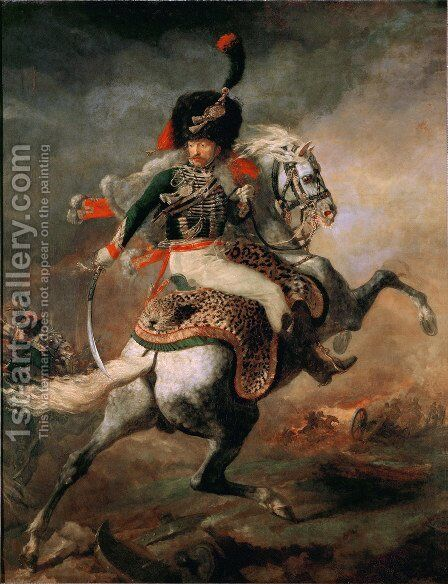 An Officer of the Chasseurs Commanding a Charge 1812 by Theodore Gericault - Reproduction Oil Painting