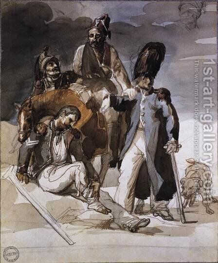 Wounded Soldiers Retrating from Russia c. 1814 by Theodore Gericault - Reproduction Oil Painting