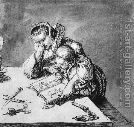 Woman and Child looking at a Picture Book c. 1600 by Jacob de II Gheyn - Reproduction Oil Painting