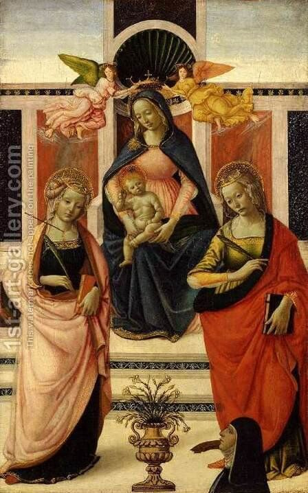 Virgin and Child Enthroned between St Ursula and St Catherine 1480s by Davide Ghirlandaio - Reproduction Oil Painting