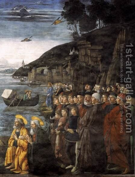 Calling of the Apostles (detail 3) 1481 by Domenico Ghirlandaio - Reproduction Oil Painting