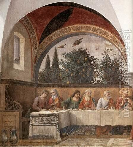 Last Supper (detail 1) 1480 by Domenico Ghirlandaio - Reproduction Oil Painting