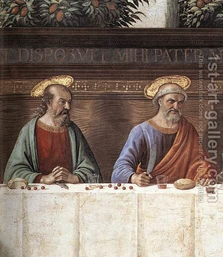 Last Supper (detail 1) c. 1486 by Domenico Ghirlandaio - Reproduction Oil Painting