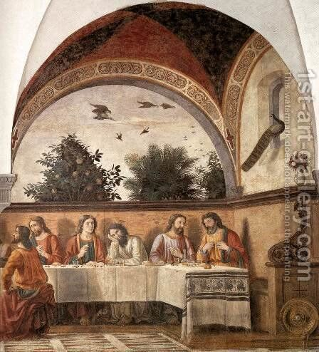 Last Supper (detail 2) 1480 by Domenico Ghirlandaio - Reproduction Oil Painting