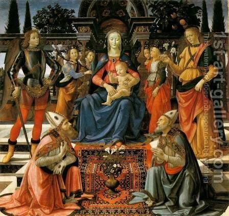 Madonna and Child Enthroned with Saints c. 1483 by Domenico Ghirlandaio - Reproduction Oil Painting