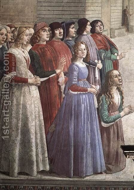 Resurrection of the Boy (detail 3) 1482-85 by Domenico Ghirlandaio - Reproduction Oil Painting