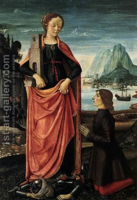 St Barbara Crushing her Infidel Father, with a Kneeling Donor c. 1473 by Domenico Ghirlandaio - Reproduction Oil Painting