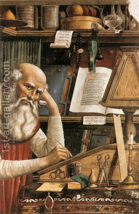 St Jerome in his Study (detail) 1480 by Domenico Ghirlandaio - Reproduction Oil Painting