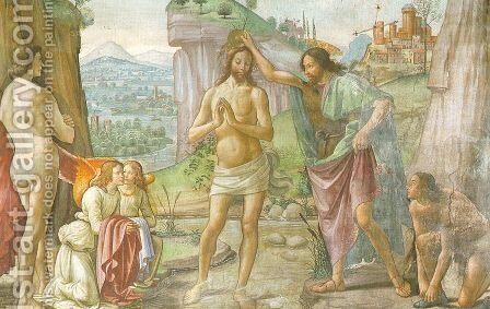 The Baptism of Christ (detail) 1485-90 by Domenico Ghirlandaio - Reproduction Oil Painting